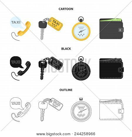 Handset With The Inscription Of A Taxi, Car Keys With A Key Fob, A Stopwatch With A Fare, A Purse Wi
