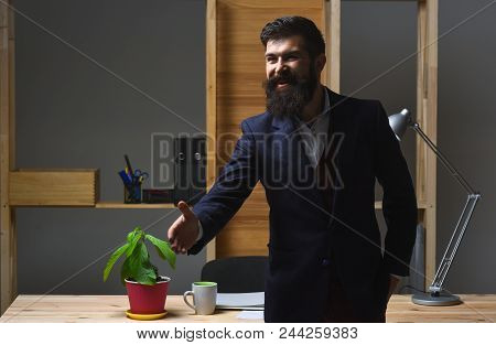 Friendly Businessman Is Welcome. Handshaking. Portrait Of Bearded Businessman. Smiled Businessman In