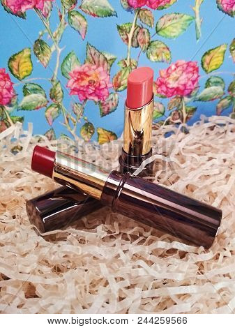 Women's Rose Pink Red Lipstick Cosmetics Makeup Photo