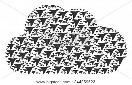 Cloud Composition Constructed With Airplane Intercepter Objects In Various Sizes. Abstract Vector We