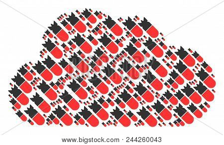 Cloud Composition Formed Of Aviation Bomb Pictograms In Variable Sizes. Abstract Vector Space Repres