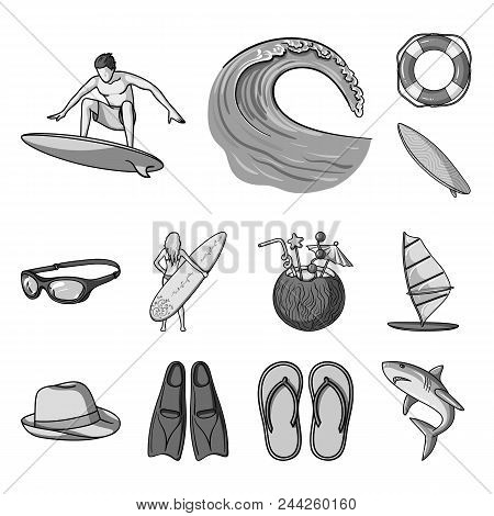 Surfing And Extreme Monochrome Icons In Set Collection For Design. Surfer And Accessories Vector Sym
