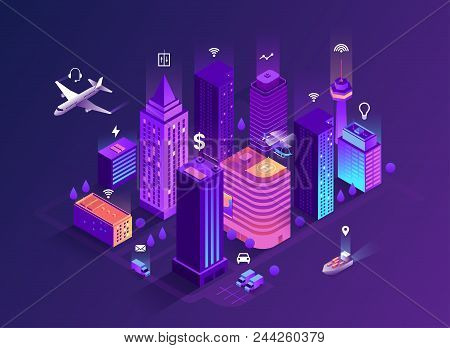 Smart City Isometric Illustration. Intelligent Buildings. Streets Of The City Connected To Computer
