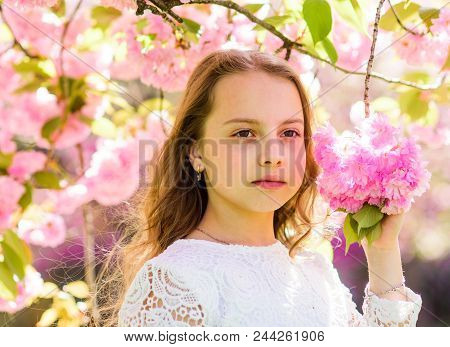 Tenderness Concept. Cute Child Enjoy Nature On Spring Day. Girl With Long Hair Outdoor, Cherry Bloss