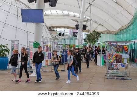 Edinburgh, Scotland - May 24, 2018: Group Of Students Visiting Science Museum Dynamic Earth. The Ent
