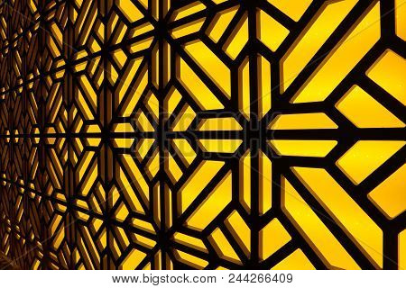 Abstract Stained-glass Window At The Spa Center. Floral Pattern Mosaic Glass.