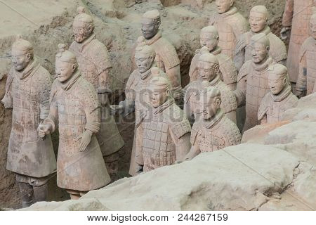 Xian, China - May 24, 2018: The Terracotta Army Warriors At The Tomb Of China's First Emperor In Xia