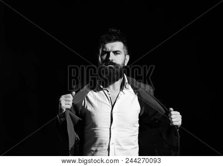 Fashion Model. Business Confidence And Elegance Concept. Businessman With Beard And Spiky Hair In Fo