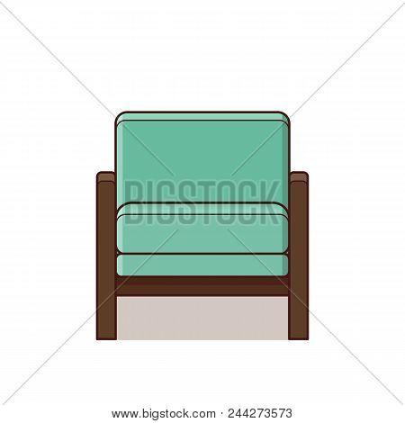 Armchair Icon In Flat Design. Vector Illustration. Retro Style.