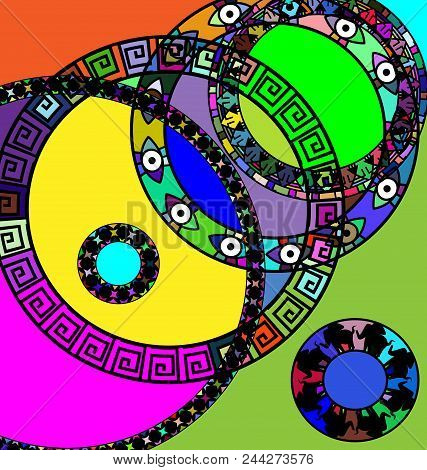 Abstract Colored Image Of Circles Consisting Of Lines And Figures