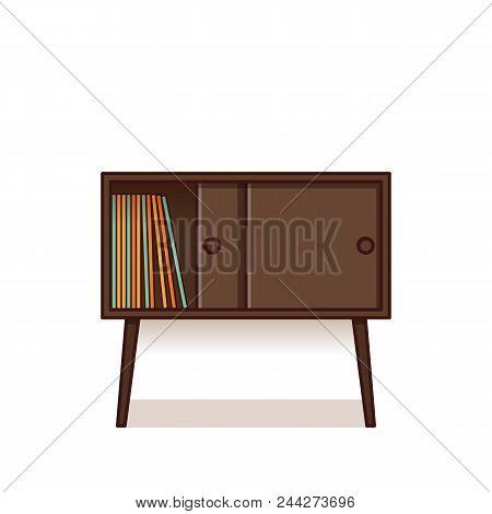 Bedside Table, Nightstand In Flat Design. Vector Illustration. R