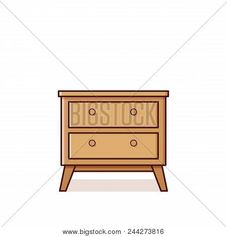 Bedside Table Icon In Flat Design. Vector Illustration. Retro St