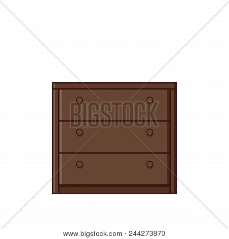 Chest Of Drawers Icon In Flat Design. Vector Illustration. Retro