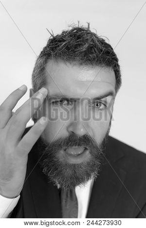 Man Face. Businessman With Confident And Arrogant Face, Close Up. Business, Style And Confidence Con