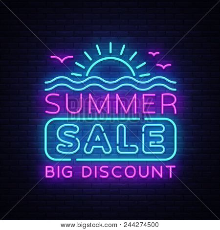 Summer Sales Neon Banner Vector. Bright Neon Advertising Of Summer Discounts, Design Template, Light