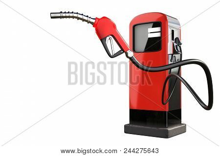 3d Rendering Of A Red Gas Pistol With Gasoline Dispenser Pumps Isolated On White Background With Cli