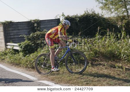 Young Cyclist In A Competition