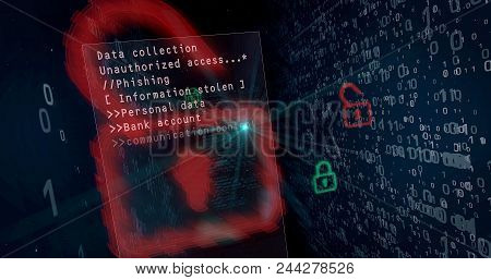 Cyber Security Breach On Digital Background Concept. Opening Padlocks For Access To Data, Computer H