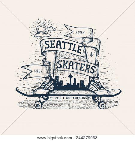 Skateboarding Emblem In Sketch Style - Legs In Sneakers Standing On Skateboard