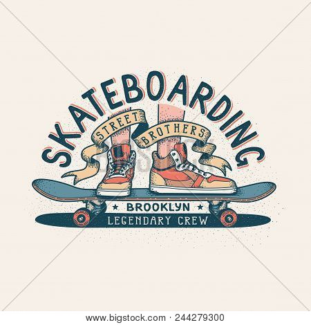 Authentic Skateboarding Vintage Print Design For T-shirt With Legs In Sneakers Standing On Skateboar