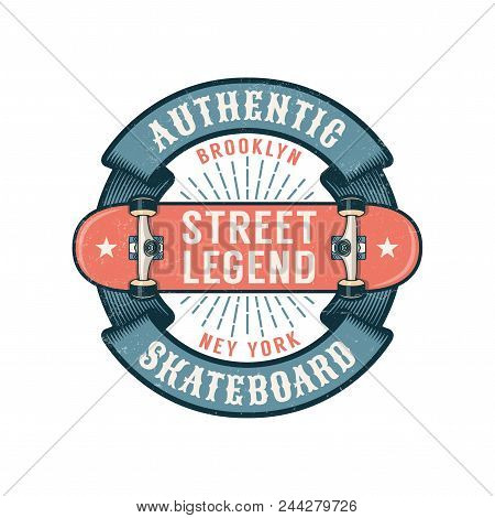 Hipster Skateboarding Logo With Round Ribbon And Inverted Skateboard. Worn Textures On A Separate La
