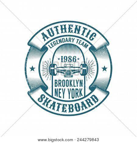 Skateboarding Logo In Retro Style. Skateboard In Heraldic Ribbon With Inscriptions. Worn Textures On