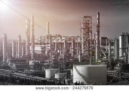 Gas Distillation Tower And Smoke Stack Petroleum Industrial Plant, Manufacturing Of Petrochemical In