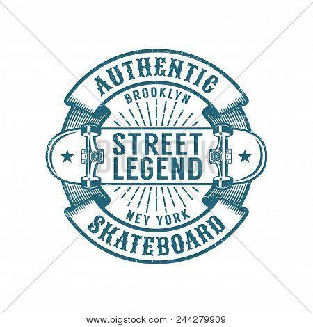 Skateboard Brooklyn Retro Emblem. Worn Textures On A Separate Layer.