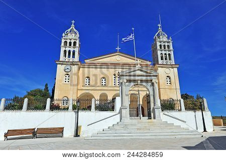 Facade Of Cathedral Of Lefkes Town