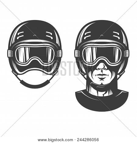 Man Head In Sports Helmet, Maybe Snowboarding Or Racing. Old-school Retro Monochrome Stamp Style.