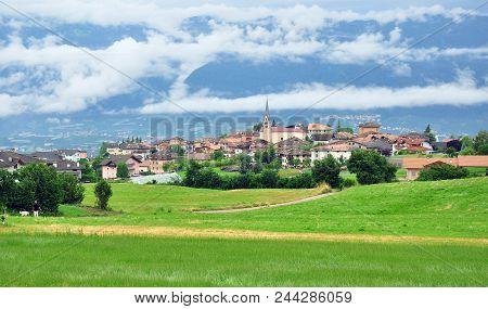 Panorama Of Small Italian Apline Village
