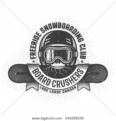 Snowboarding Old School Logo With Skull Holding Cracked Snowboard In The Teeth And Heraldic Ribbon.