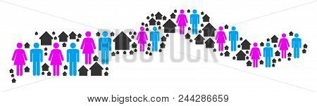 Population The Gambia Map. Household Vector Abstraction Of The Gambia Map Made Of Randomized Person