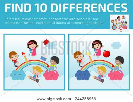 Find Differences, Game For Kids, Find Differences, Brain Games, Children Game, Educational Game For