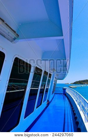 Big Ferry Boat Deck, Runs From Keramoti City To Thassos Island.  Mediterranean Sea Cruiser Deck.