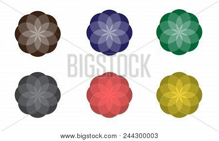 Colorful Abstract Geometric Flowers. Vector Symbolic Ornaments.
