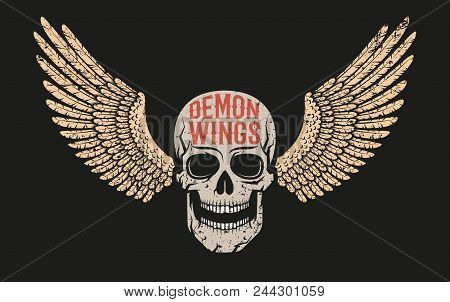 Skull With Wings - Color Logo On A Black Background. A Worn Texture On A Separate Layer.
