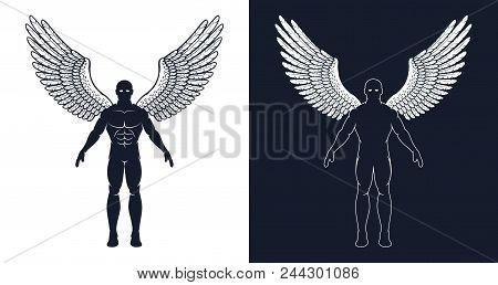 Muscular Man With Wings Is Like A Superhero Or A Dark Angel. Silhouette Of An Athletic Man.