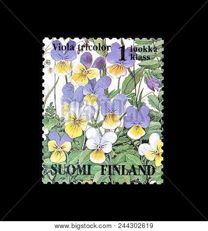 Finland - Circa 1994 : Cancelled Postage Stamp Printed By Finland, That Shows Heartsease Flower.