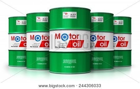 3d Render Illustration Of The Group Of Green Metal Drum Canisters Or Barrel Containers With Car Moto