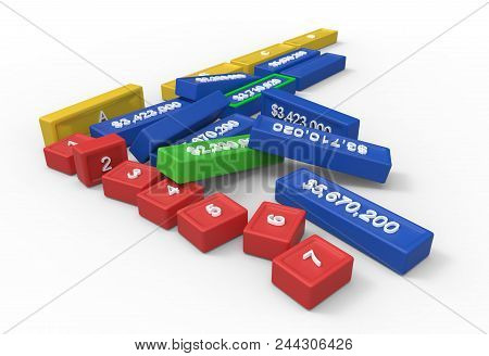 3d Spreadsheet As Separate Elements Isolated On White. 3d Rendering