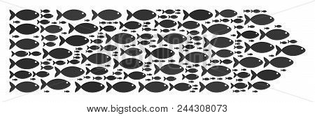 Direction Arrow Vector Shape Built From Random Fish Objects In Various Sizes. Fish Icons Are Organiz