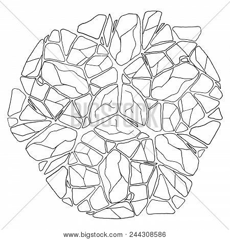 Rough Stonework. Background Of Old Stone Wall. Masonry. Vector Illustration Of A Stone Wall, Wall Of