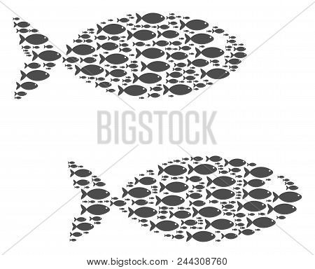 Fish Pair Vector Collage Created With Random Fish Pictograms In Various Sizes. Fish Icons Are Organi