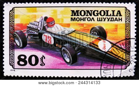 Moscow, Russia - April 2, 2017: A Post Stamp Printed In Mongolia Shows Sport Racing Car,  Car Racing