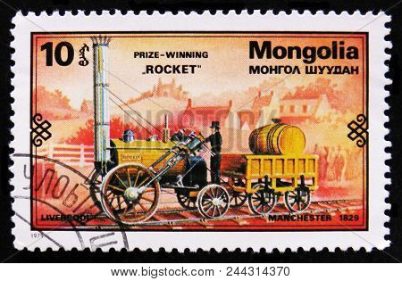 Moscow, Russia - April 2, 2017: A Post Stamp Printed In Mongolia Shows Rocket Train, 1829, Retro Tra