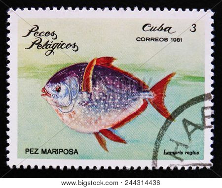 MOSCOW, RUSSIA - APRIL 2, 2017: A post stamp printed in Cuba, shows a Butterfly fish (Lampris regius
