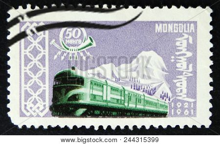 Moscow, Russia - April 2, 2017: A Post Stamp Printed In Mongolia