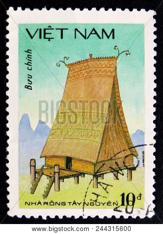 Moscow, Russia - April 2, 2017: A Post Stamp Printed In Vietnam Shows Highland House - Highest House