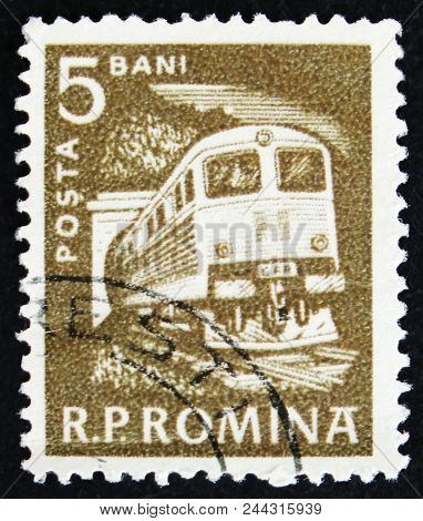 Moscow, Russia - April 2, 2017: A Post Stamp Printed In Romania Shows Locomotive, Circa 1960